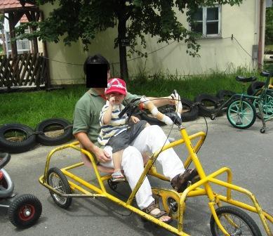 パパと変形自転車に