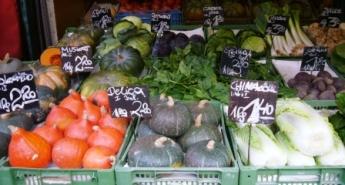 様々な野菜、果物、肉類、パンが売られている市場