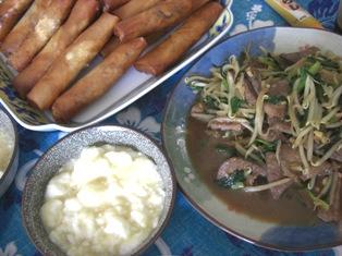 070914 春巻き、レバニラ、スープ
