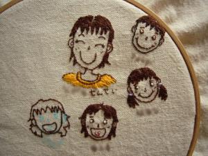 刺繍の途中ですぅ