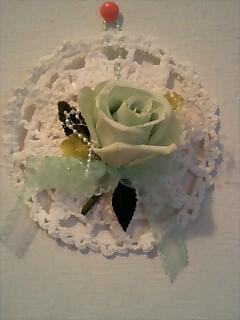 グリーンのバラの壁掛け