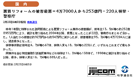 悪質リフォームの被害最悪=4万7000人から253億円-220人検挙・警察庁