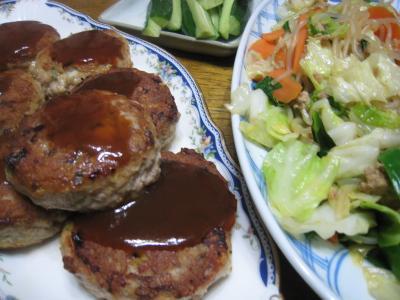 ハンバーグと野菜炒め