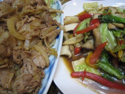 豚のしょうが焼きと野菜炒め