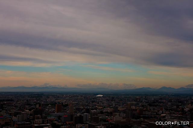 札幌の曇りの日の日没