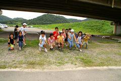 百間川の橋の下で練習