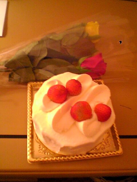 ホテルから頂いたケーキ