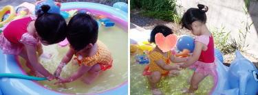 Nちゃんと仲良く水遊び♪