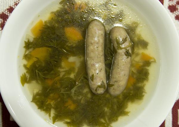 ニンジンの葉入りスープ