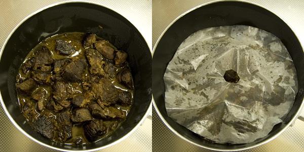 出来上がりの状態(左)と硫酸紙の内ブタ(右)