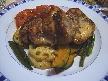 鶏肉のポワレ 焼き野菜添え