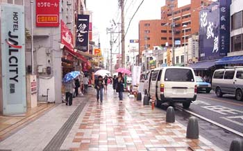 JAL CITYホテル前から安里方向