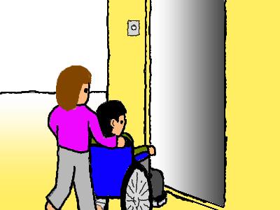 車椅子トイレまで連れて行く