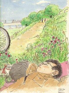 多摩川で昼寝