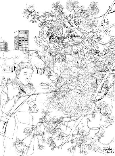 皇居の八重桜