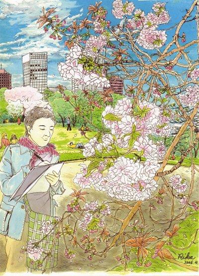 皇居の八重桜(完成版)