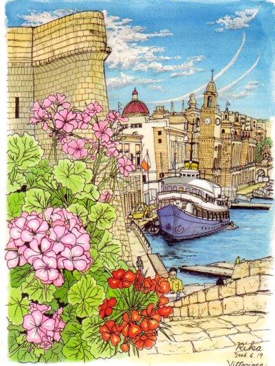 マルタ作品その1(聖アンジェロ砦からの眺め)