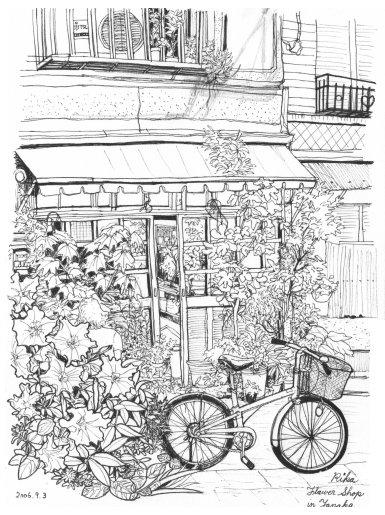 谷中の花屋さん(白黒版)
