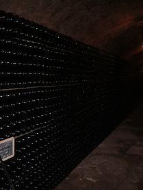 地下のカーブで二次発酵中の瓶