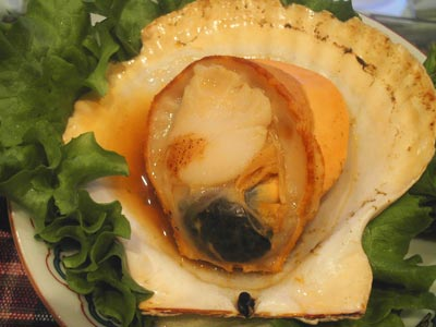 ホタテ殻焼き