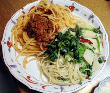 ボロネーゼと筍・菜の花パスタ