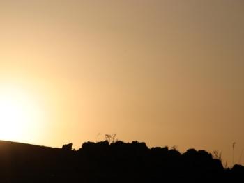 長者が森からの夕陽(台山)