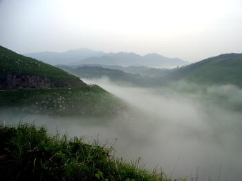 カルストロードにかかる雲海(帰水附近)