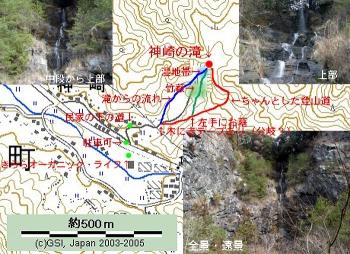 神崎の滝へのルート