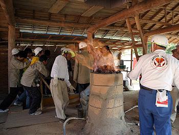 古代銅製錬復元実験-2