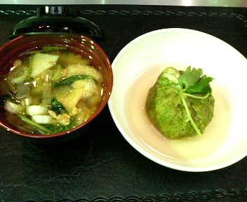 蓮根まんじゅう抹茶風味&納豆汁