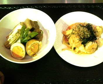 豚と卵の角煮風、ほうれん草と小エビのソテー柚子ドレッシング