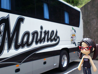 マリーンズ選手バス