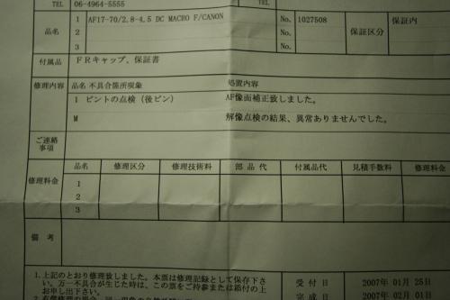 Sigma 17-70mm F2.8-4.5 DC MACRO診断書