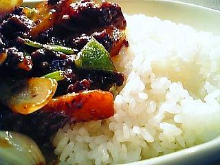 余り野菜と挽き肉の中華味噌炒めライス1-1