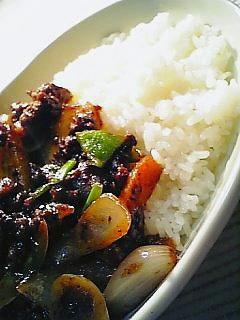 余り野菜と挽き肉の中華味噌炒めライス1-2