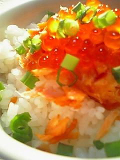 カリカリ鮭といくらの丼1-