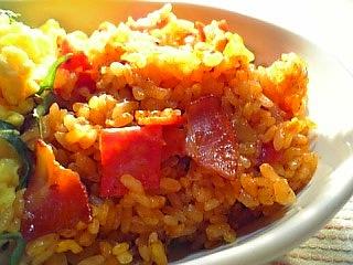 ママーミートソースで炒めご飯と炒り玉子1-1