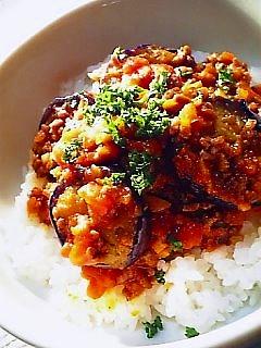 茄子のミートソース丼1-1