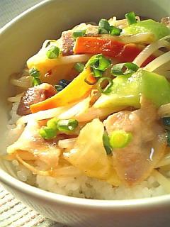 野菜入りのもやしで中華丼