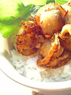 ホタテのガーリックバター焼き丼1-2