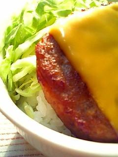 マルシンのハンバーグにチェダーチーズのせ丼1-2