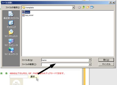 選択ボタンをクリックしてファイルを選択、アップロードする