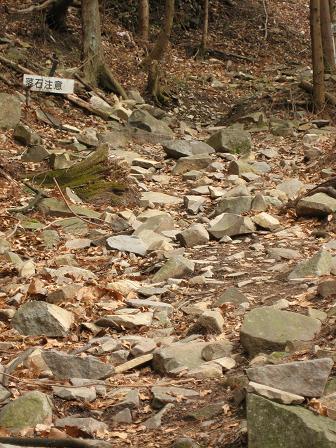 落石注意の道を登っていく