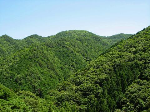 群青の空と深緑の山々と