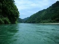 新緑の中を漕ぎ続けます