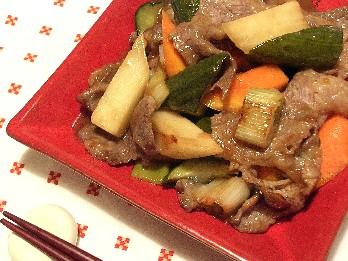 野菜のピクルスと豚肉の甘酢炒め