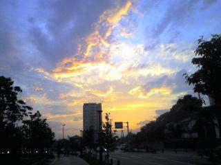 雨上がりの夕焼け・・・・・